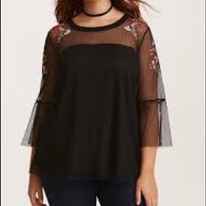Live 4 Truth Black Embroidery Sheer Mesh Blouse